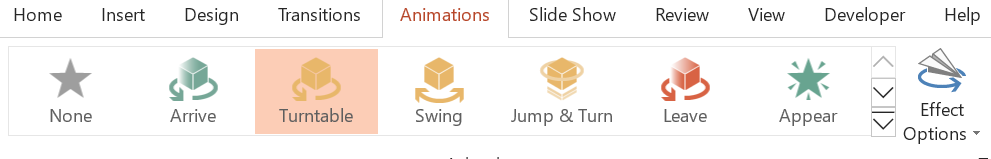3D animations options in PowerPoint