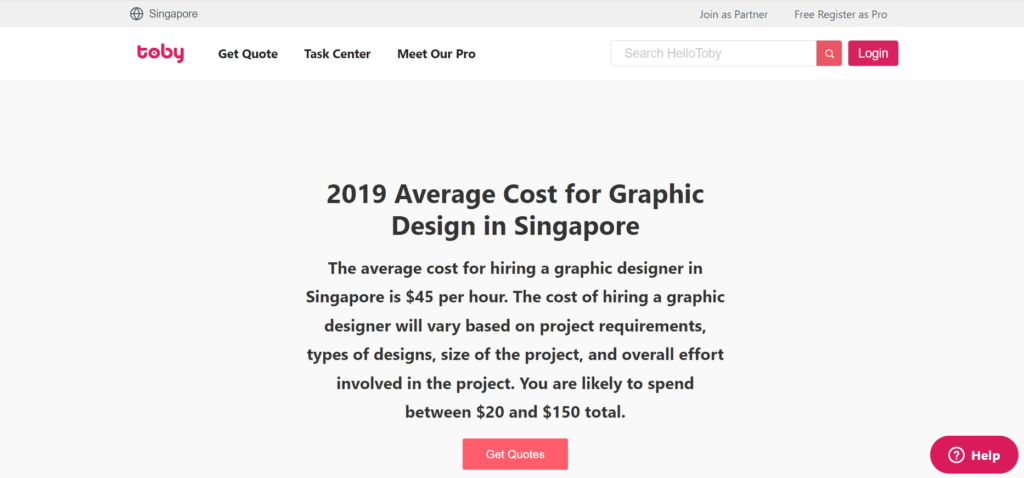 average cost of a graphic designer in Singapore in 2019.